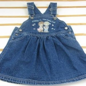 Precious Moments denim jumper dress sz 3T EUC